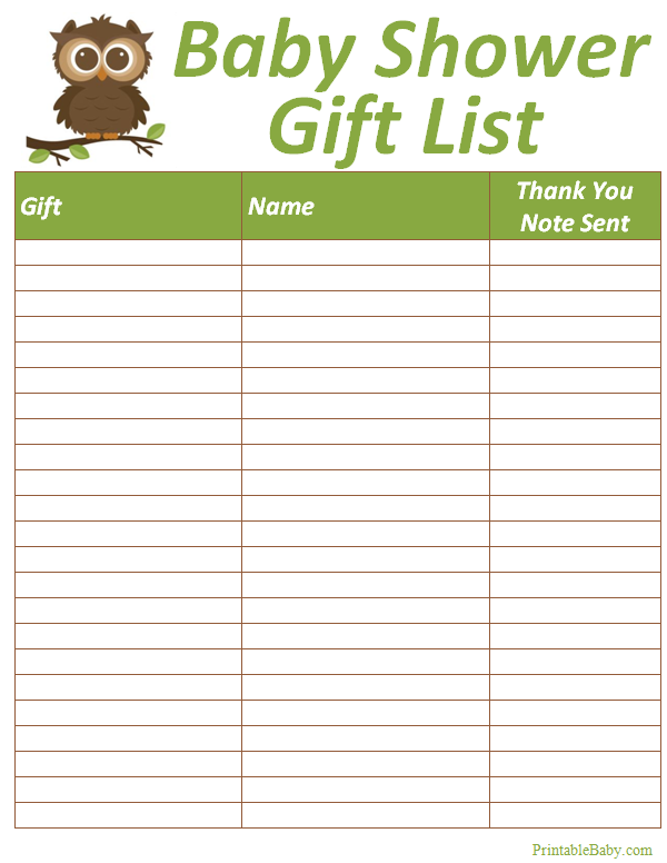 Printable Baby Shower Gift List Tracker Sheet  Printable Baby Shower Guest List