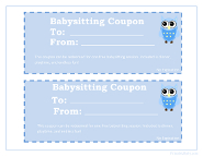 Babysitting Coupons