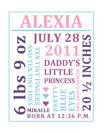 Printable Baby Girl Birth Annnouncement