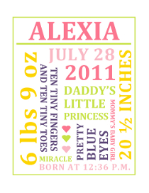 Printable Baby Girl Birth Annnouncement Collage