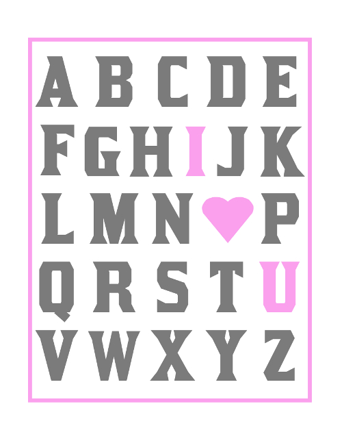 ABC I Love You Girls Nursery Print Free