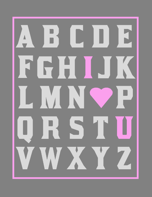 ABC I Love You Girls Nursery Print