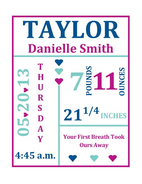 free baby girl birth stats nursery wall art