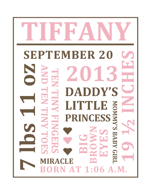 Customizable Baby Girl Birth Word Collage