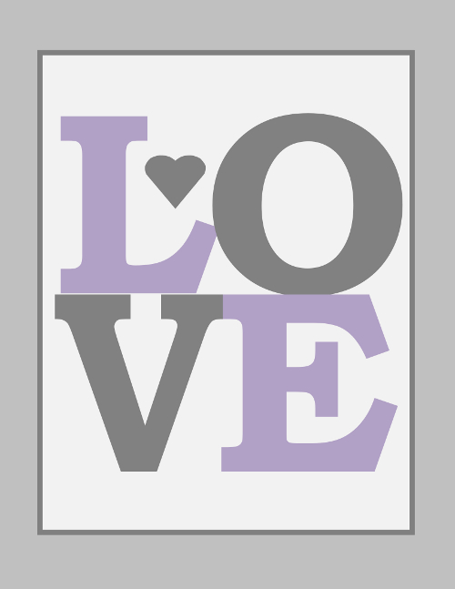 Love Nursery Print in Purple