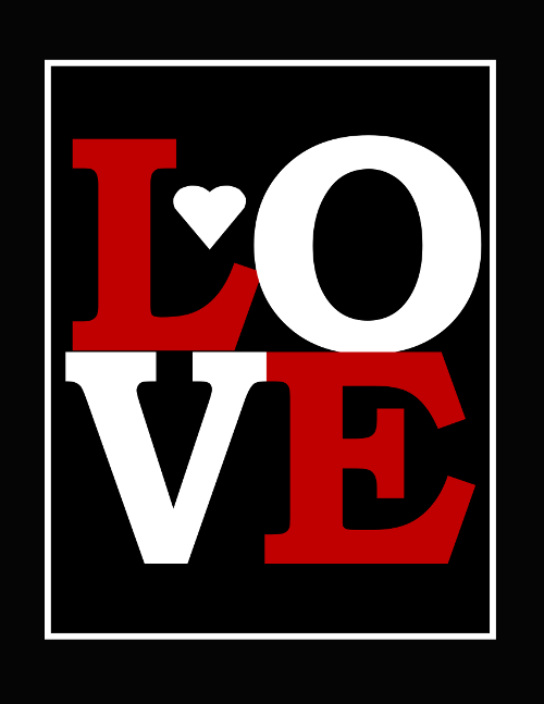 Free Love Print for Baby Boy Nursery - Black and Red