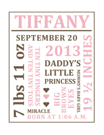 Word Collage Baby Girl Nursery Wall Art