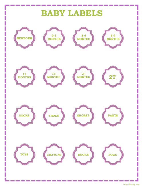 Printable Baby Girl Clothes Labels
