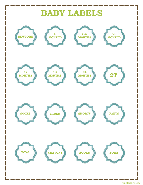 Printable Baby Clothes Labels