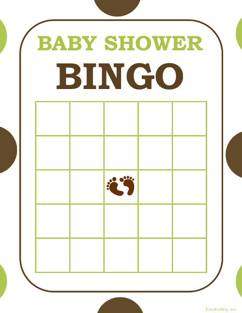Printable Baby Shower Bingo Game