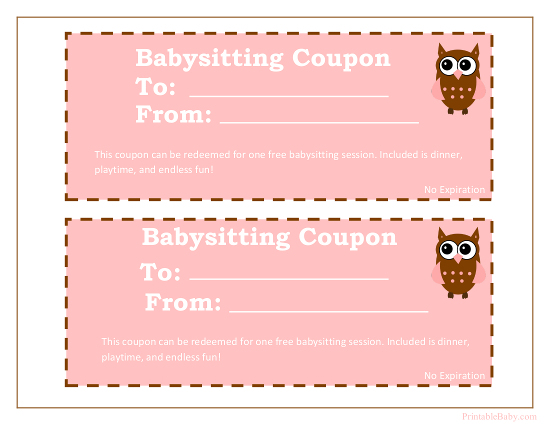 Printable Babysitting Coupons Free Baby Sitting Voucher