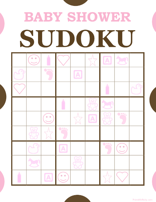 Printable Baby Shower Sudoku Game