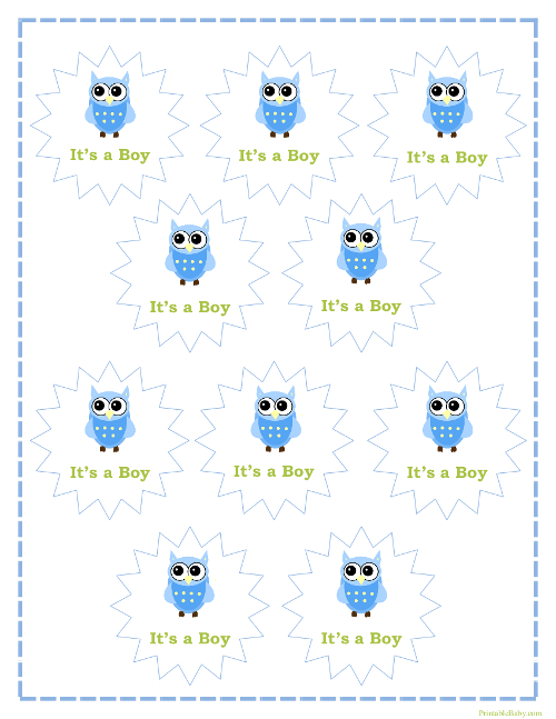 Printable It's a Boy Tags for Baby Shower